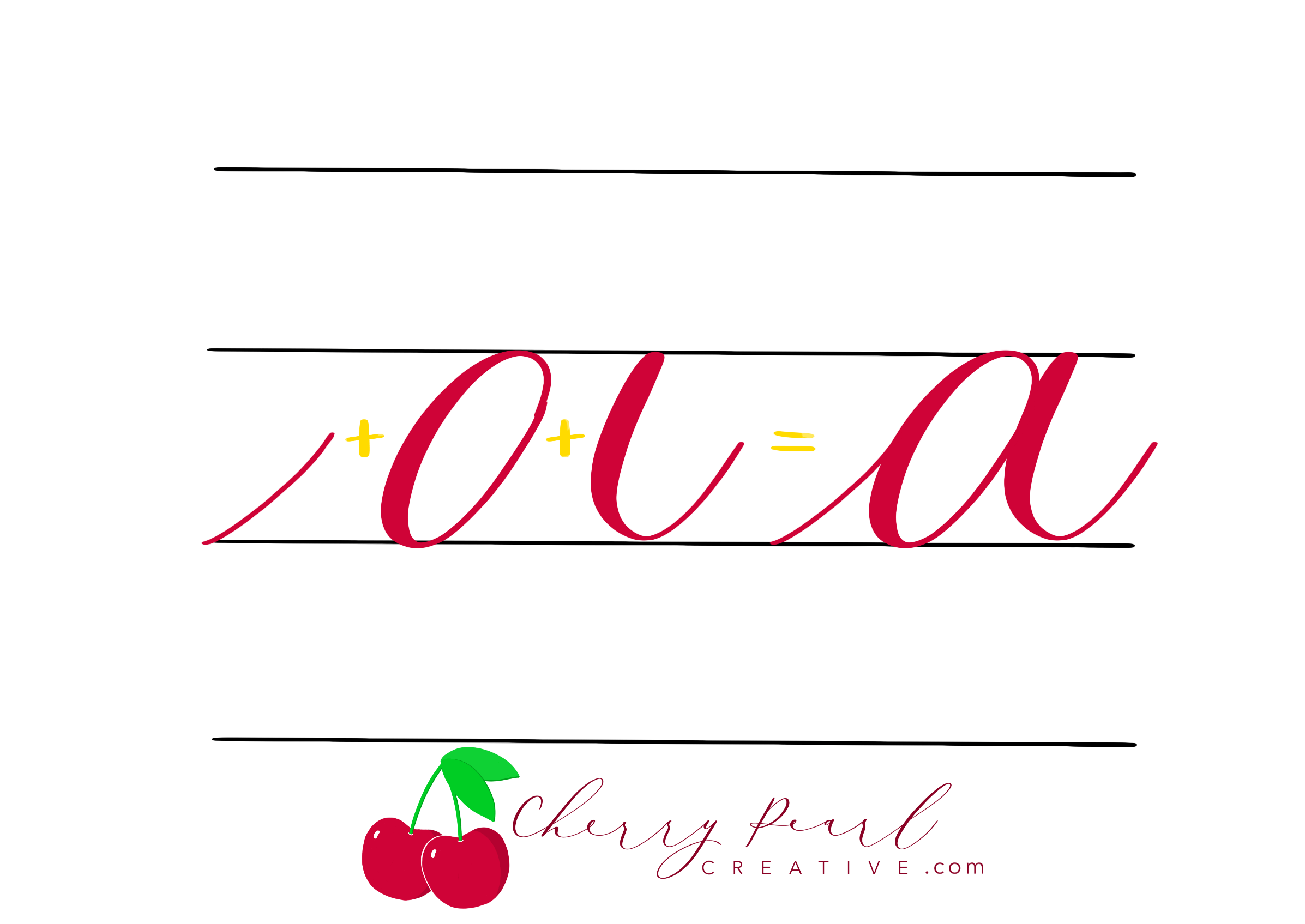 Cherry Pearl Creative - Brush Calligraphy Lowercase A with Basic Strokes