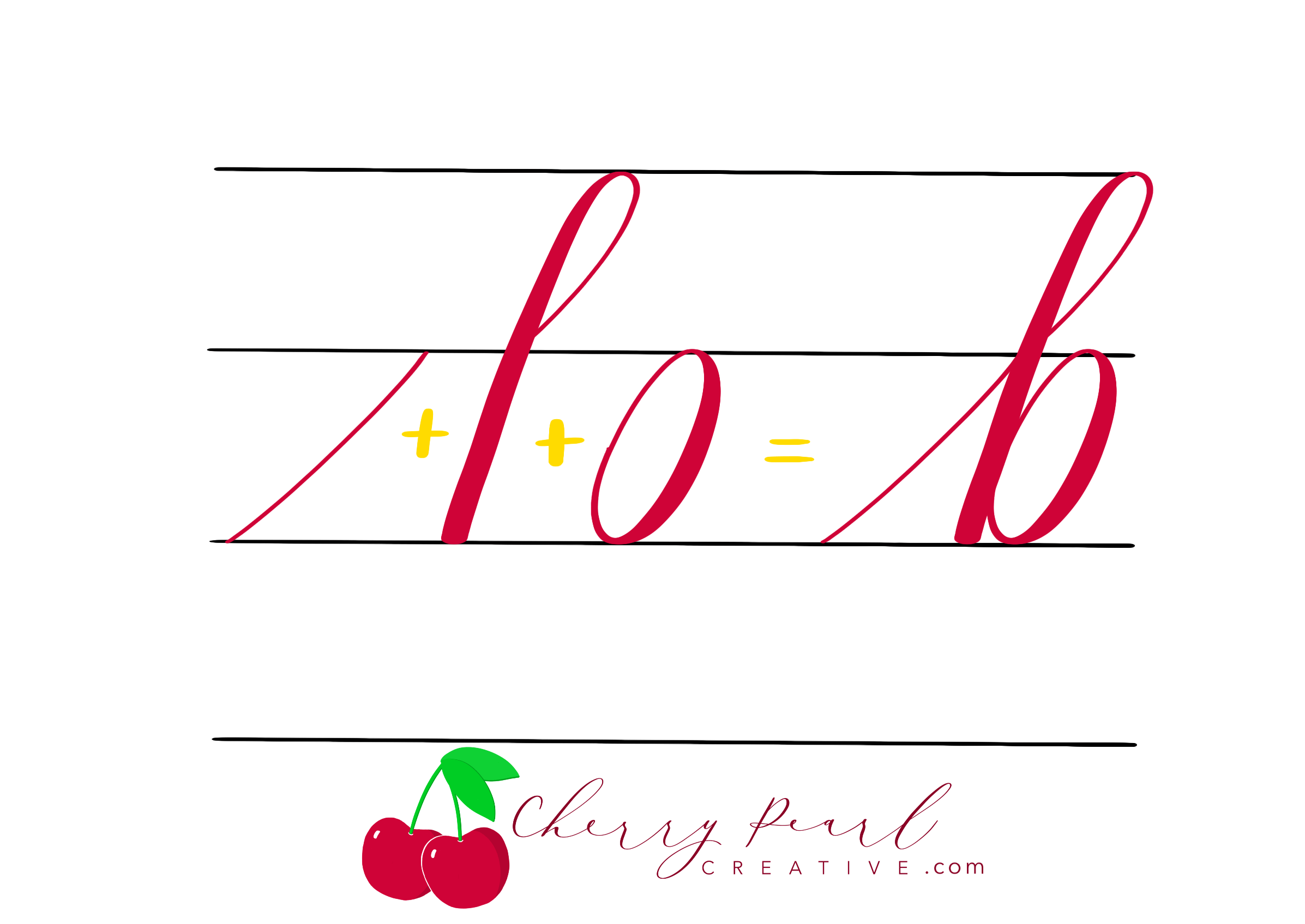 Cherry Pearl Creative - Brush Calligraphy Lowercase b with Basic Strokes