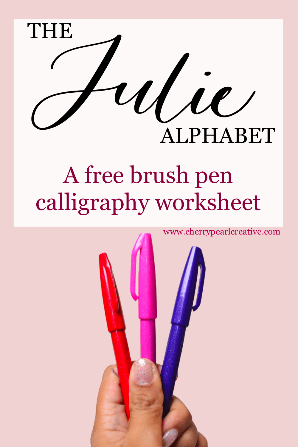 FREE brush pen calligraphy worksheet - from the resource Hub - Cherry Pearl Creative