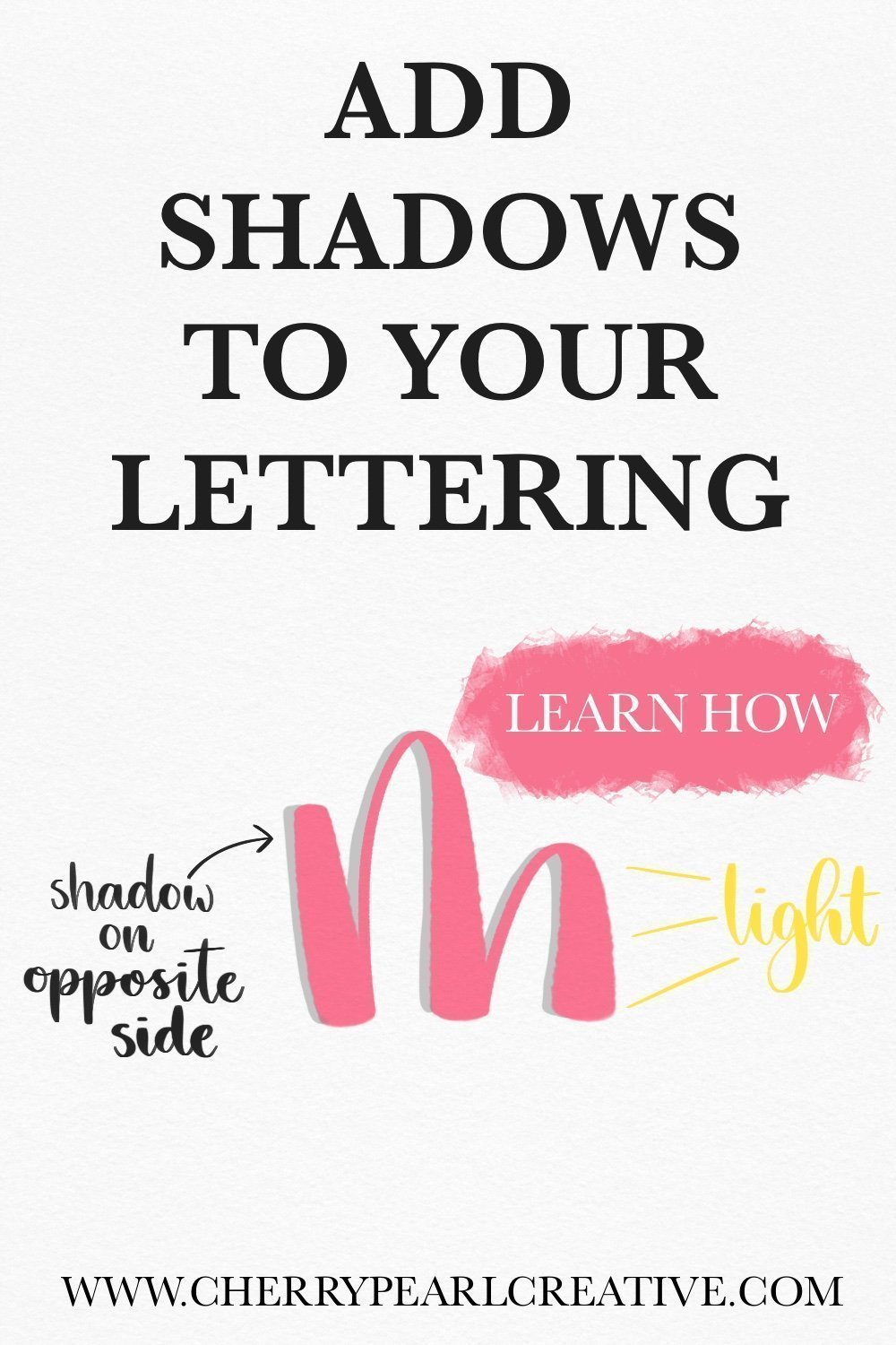 Add shadows to your letters! (Lettering & Calligraphy) Learn how - Cherry Pearl Creative
