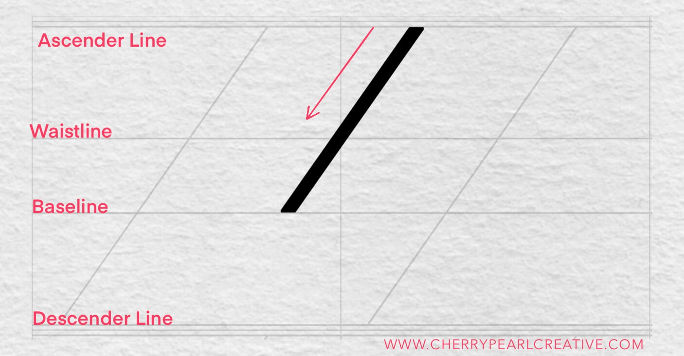Basic Pencil calligraphy strokes - the thick downstroke
