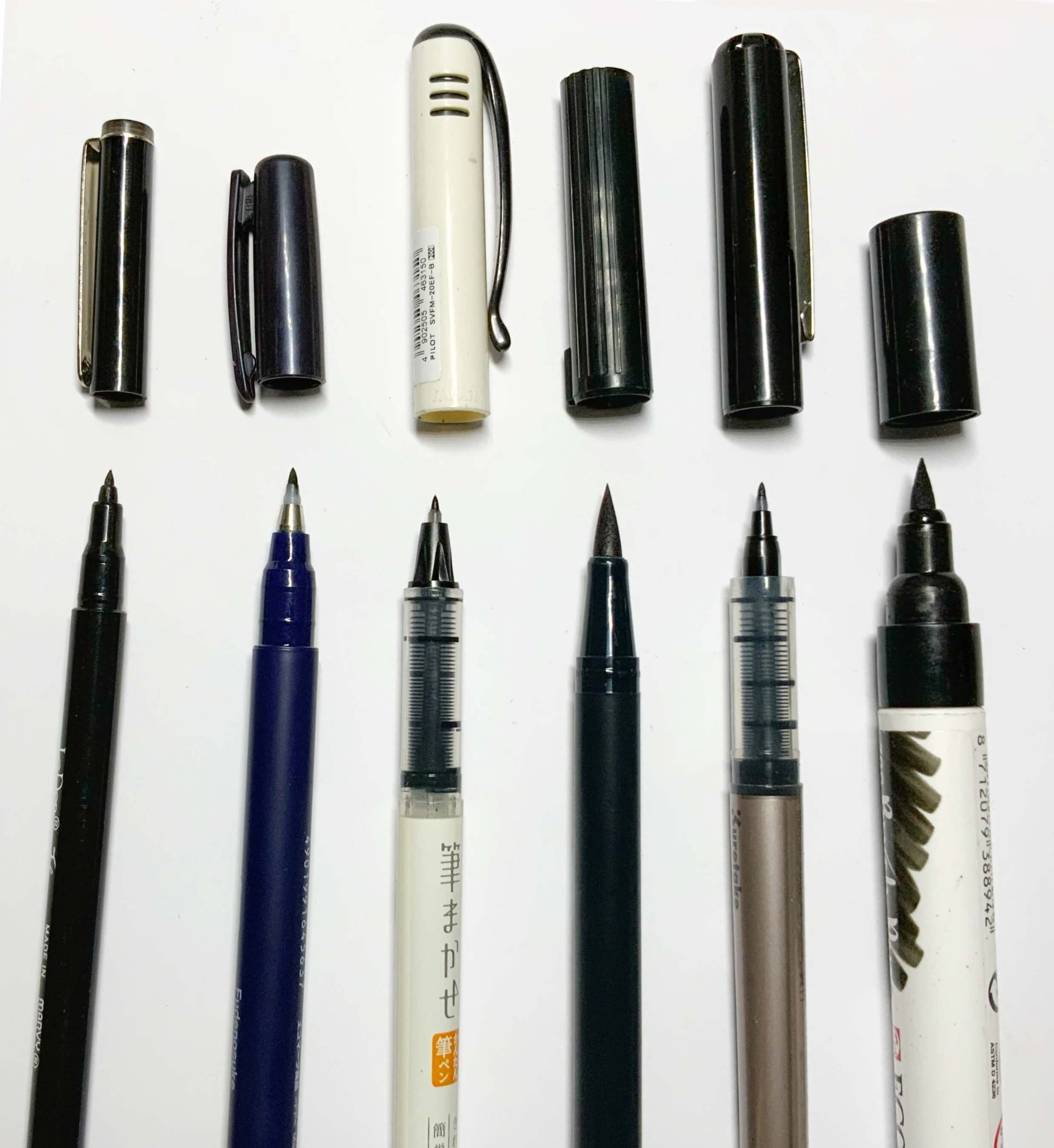 Different Brush Pens for calligraphy and lettering, comparing nib sizes