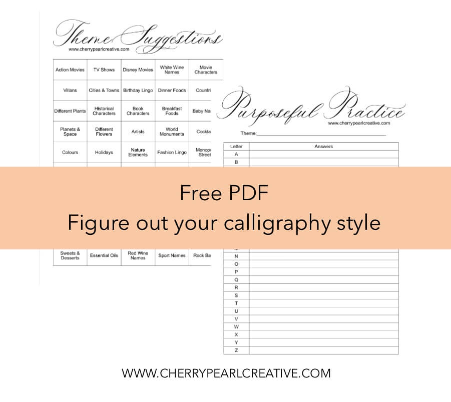 Figure Out Your Calligraphy Style Worksheets PDF